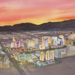 Las Vegas watercolor aerial rendering