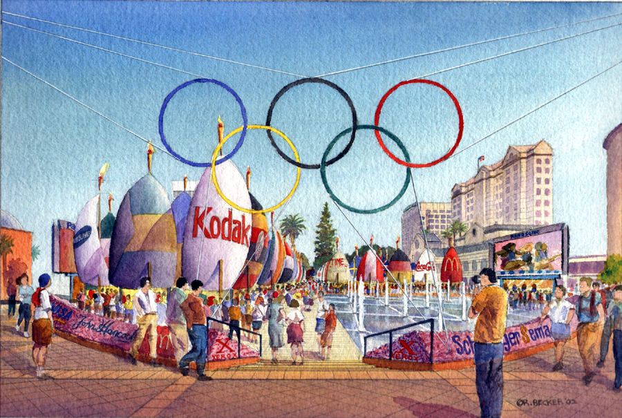 Watercolor sports architectural rendering
