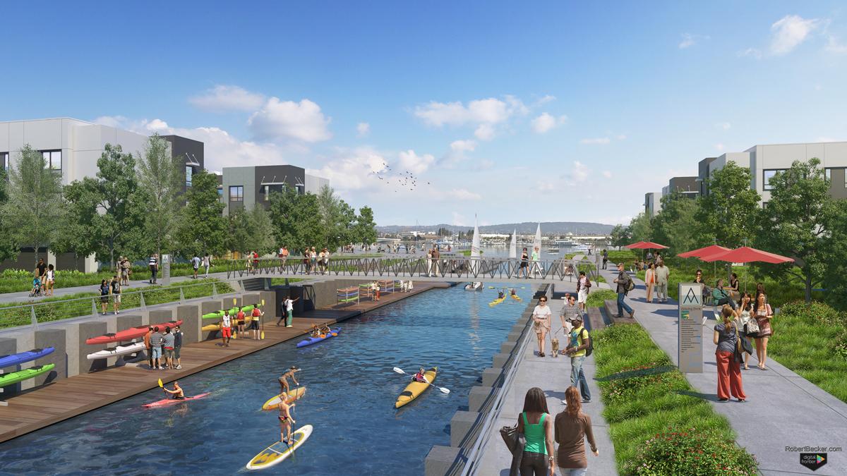 Alameda Marina Water Park 3d photorealistic rendering