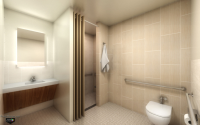 Hospital bathroom rendering