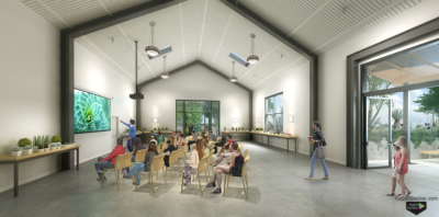 Bancroft Gardens interior lecture rendering