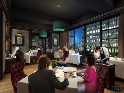 Wingtip dining room San Francisco photorealistic rendering